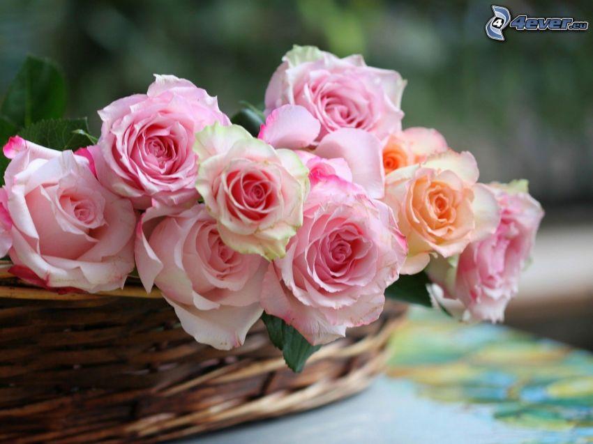 różowe róże, koszyk