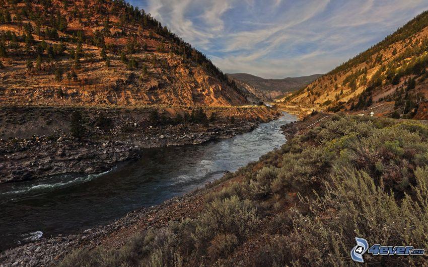 rzeka, dolina, wzgórza