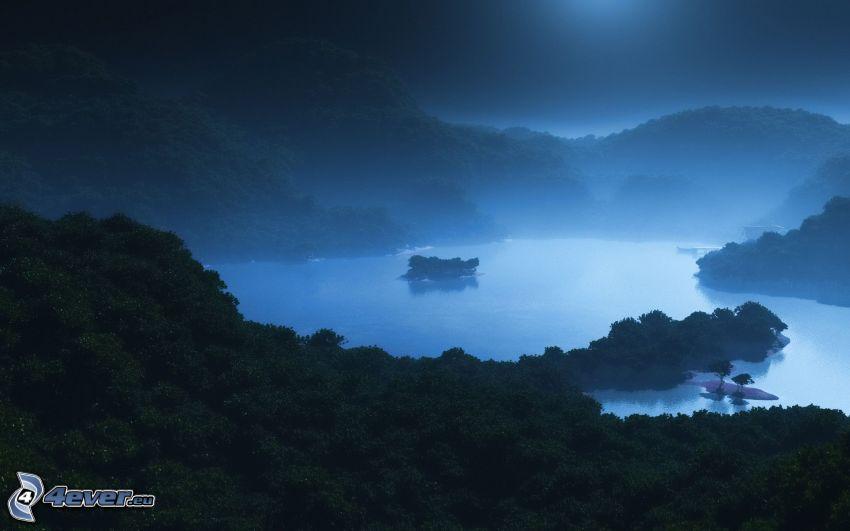 rzeka, góry, las, noc