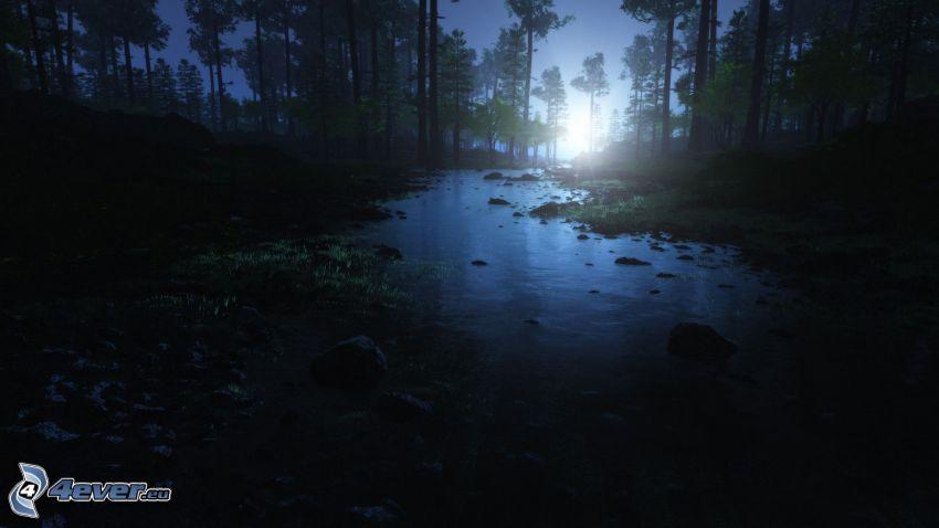 rzeka, las, księżyc, noc