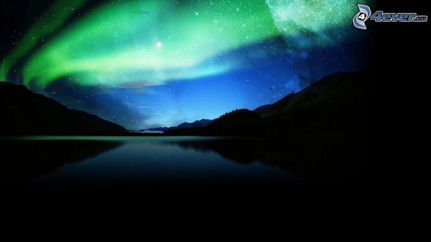 rzeka, niebo w nocy, zorza polarna