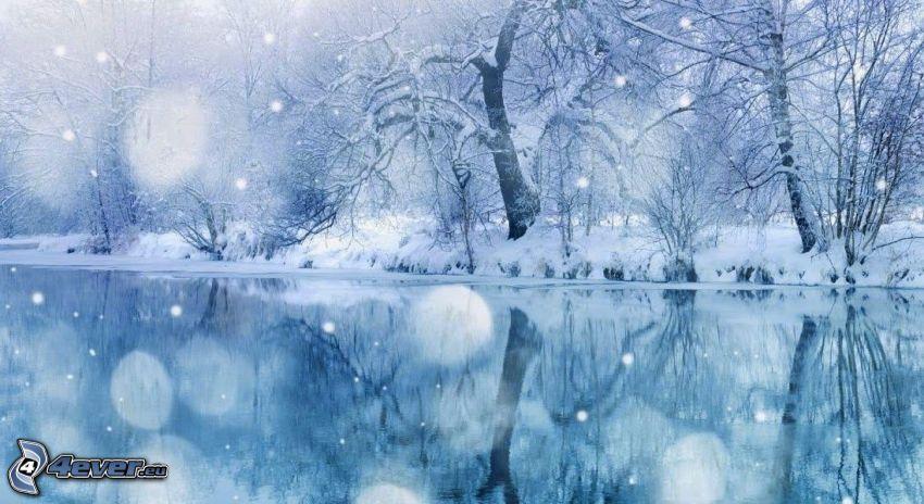 rzeka, ośnieżone drzewa, opady śniegu