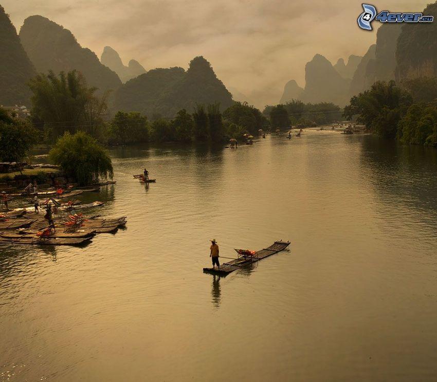 rzeka, tratwa, ludzie, drzewa, Chiny