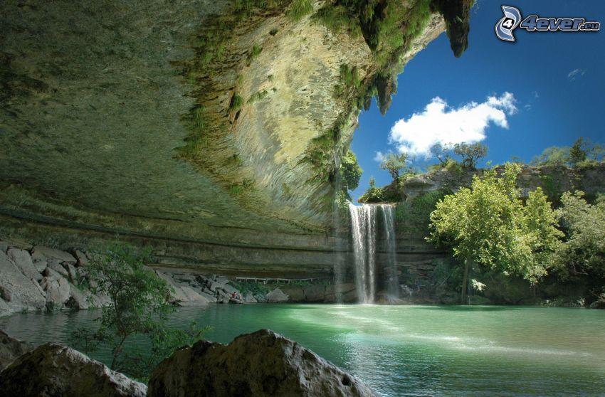skała, zatoczka, wodospad