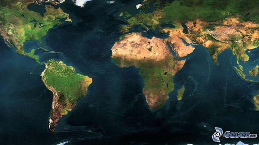 świat, mapa świata, Zdjęcie satelitarne