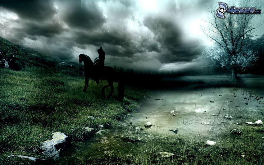 sylwetka mężczyzny, koń, ciemne chmury, drzewo, jezioro, wzgórze