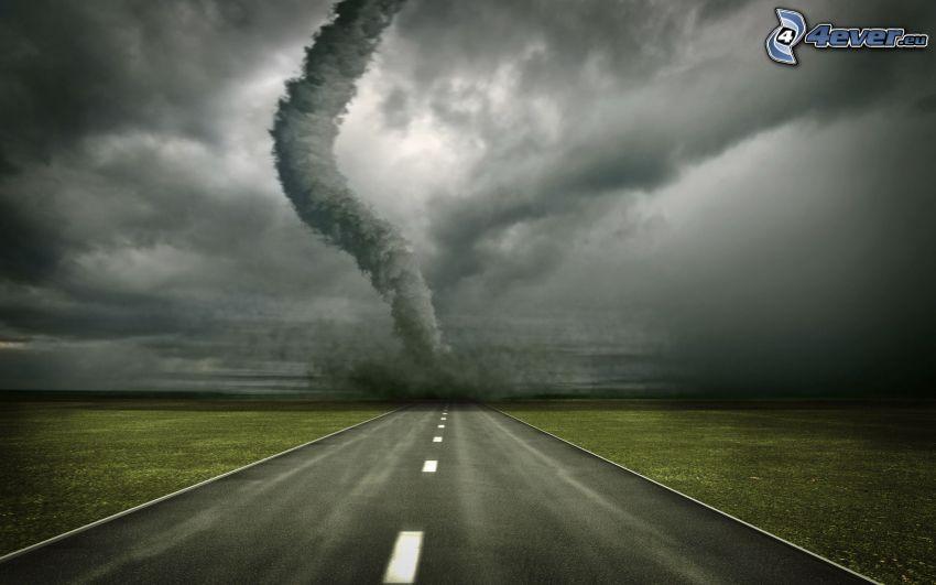 tornado, ulica, ciemne chmury