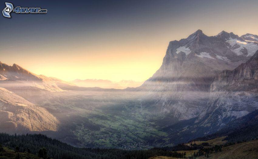 widok na dolinę, góry skaliste