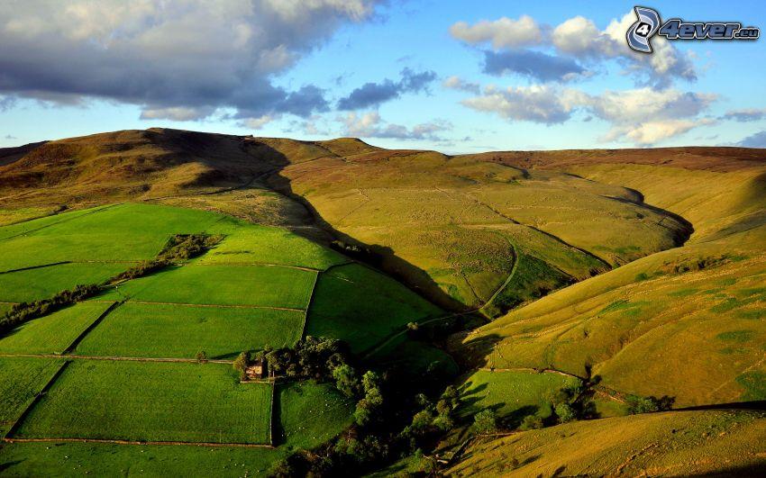 widok na krajobraz, wzgórza, pola