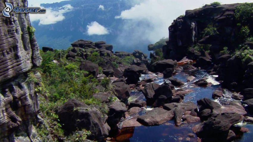 Wodospad Aniołów, strumyk, skały, Venezuela