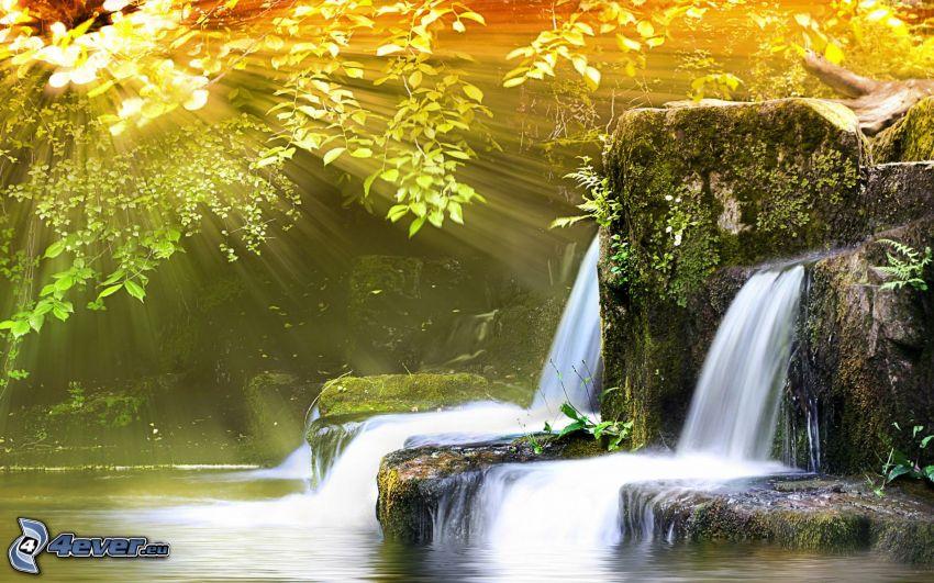 wodospady, promienie słoneczne