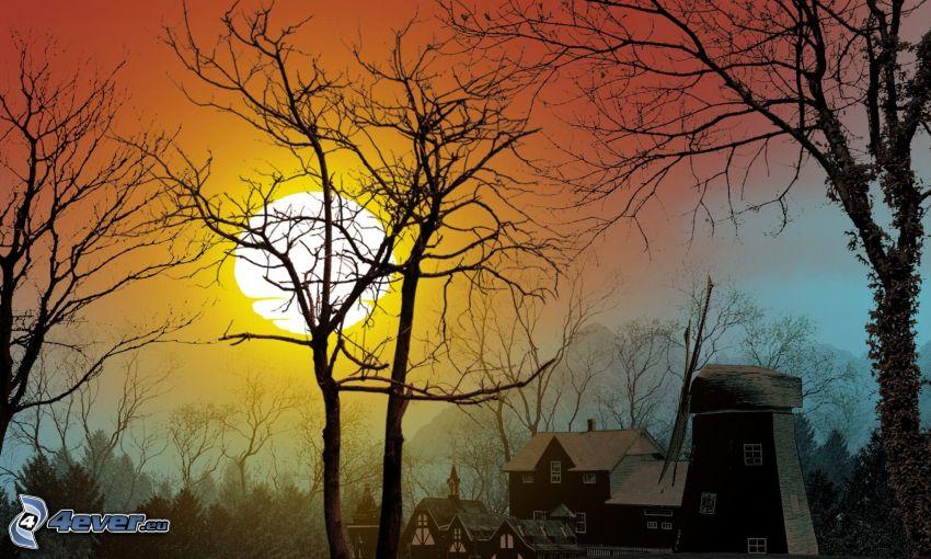 wschód słońca, młyn, domki, drzewa