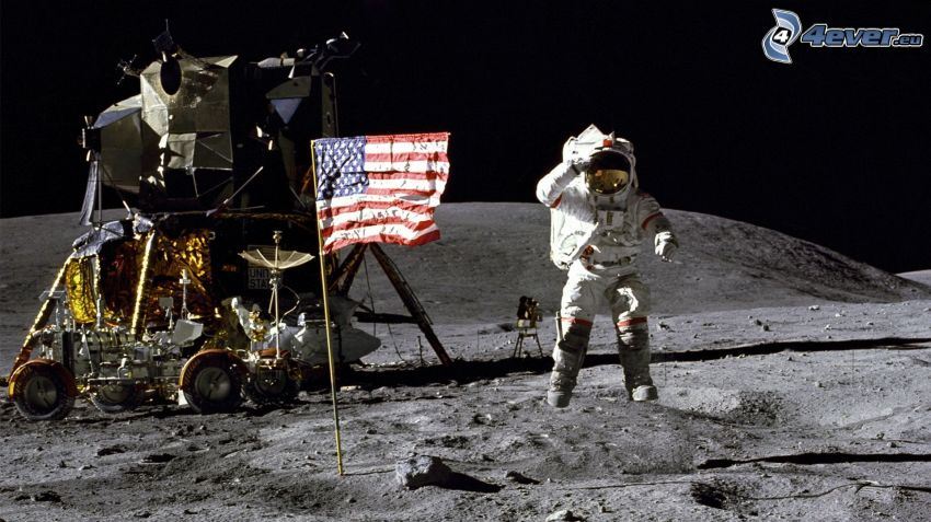 Apollo 11, Księżyc, astronauci, flaga Ameryki