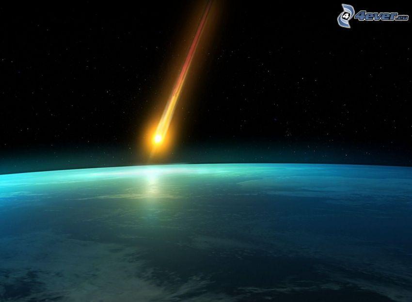 asteroid, kosmiczna łuna, Planeta Ziemia, gwiaździste niebo