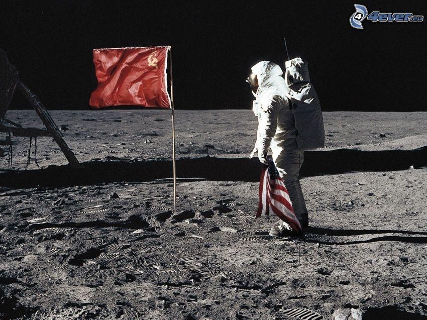 astronauta, flaga, sierp i młot, flaga Ameryki, smutek