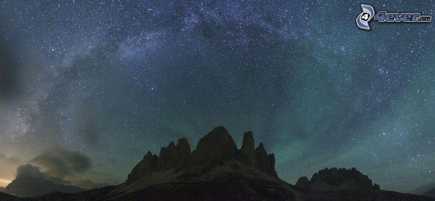 Droga Mleczna, gwiaździste niebo, skały