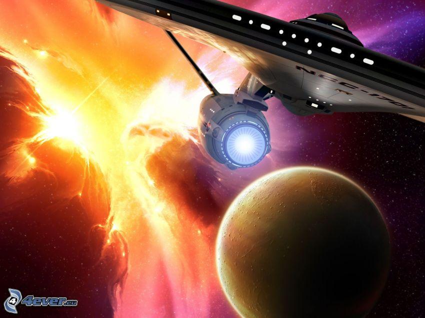 Enterprise, Star Trek, planeta, kosmiczna łuna