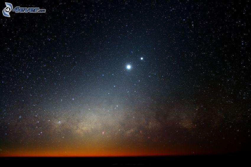 gwiaździste niebo, horyzont