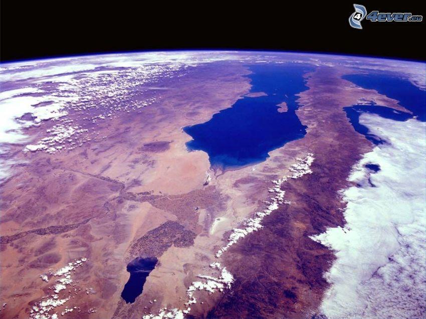 Kalifornia, widok z kosmosu, Ziemia, atmosfera, chmury