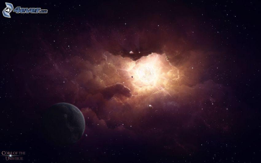 kosmiczna łuna, mgławica, planeta