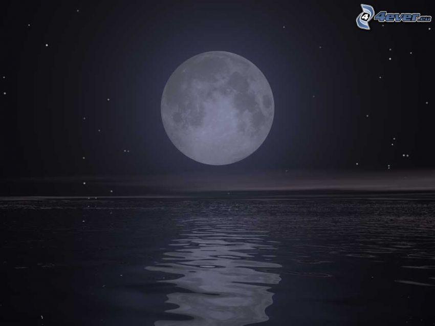 księżyc nad powierzchnią, morze, gwiazdy