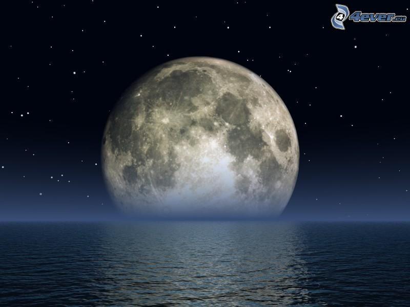księżyc nad powierzchnią, morze, pełnia, gwiazdy