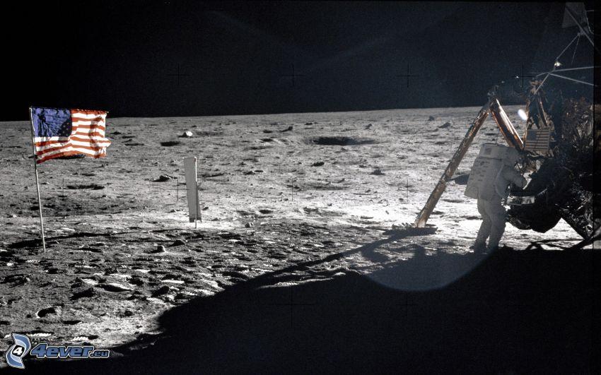 Neil Armstrong, Księżyc, Apollo 11, flaga Ameryki