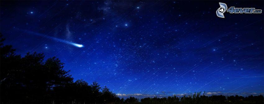 niebo w nocy, kometa, sylwetka lasu