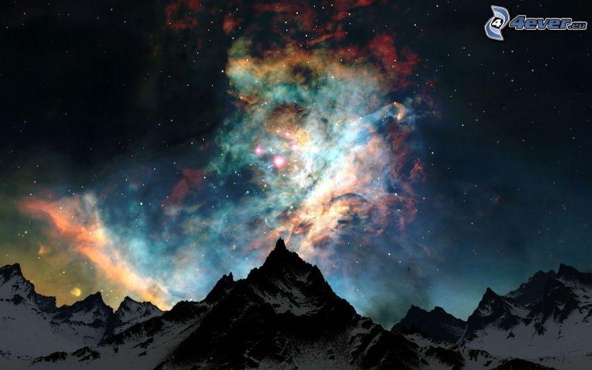 niebo w nocy, mgławice, pasmo górskie, gwiazdy