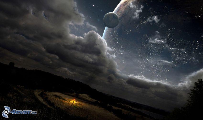 planeta, gwiaździste niebo, chmury, ludzie, ogień