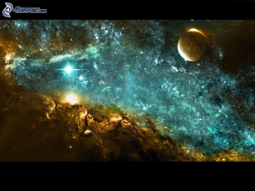 planeta, gwiaździste niebo, wszechświat