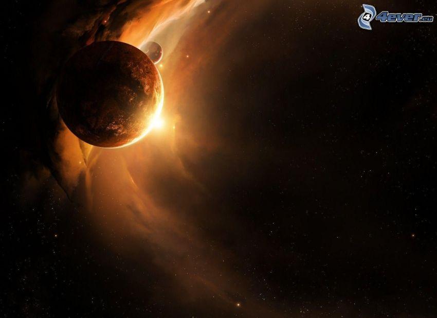 planeta, kosmiczna łuna, gwiazdy
