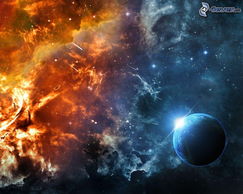 planeta, mgławice, gwiazdy