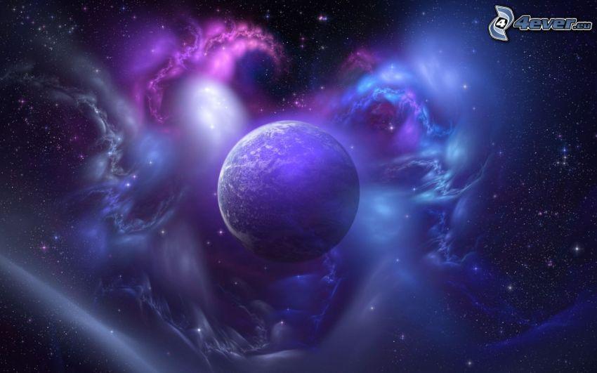 planeta, mgławice, gwiaździste niebo