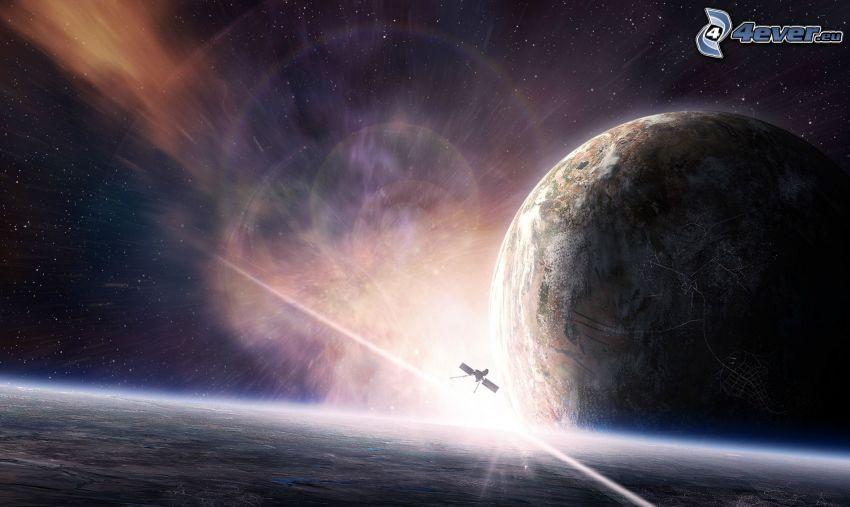 planeta, satelita, poświata, gwiaździste niebo