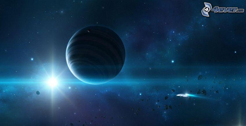 planeta, słońce, asteroidy
