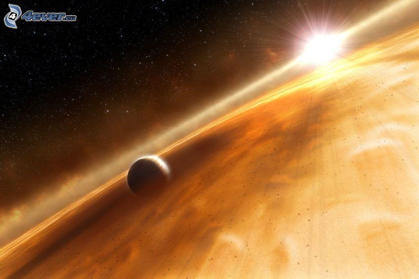 planeta, słońce, gwiaździste niebo