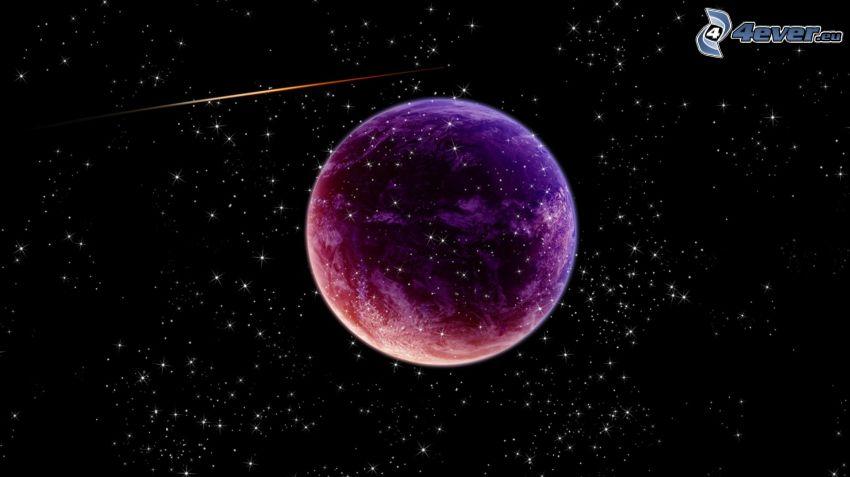 Planeta Ziemia, gwiaździste niebo, spadające gwiazdy
