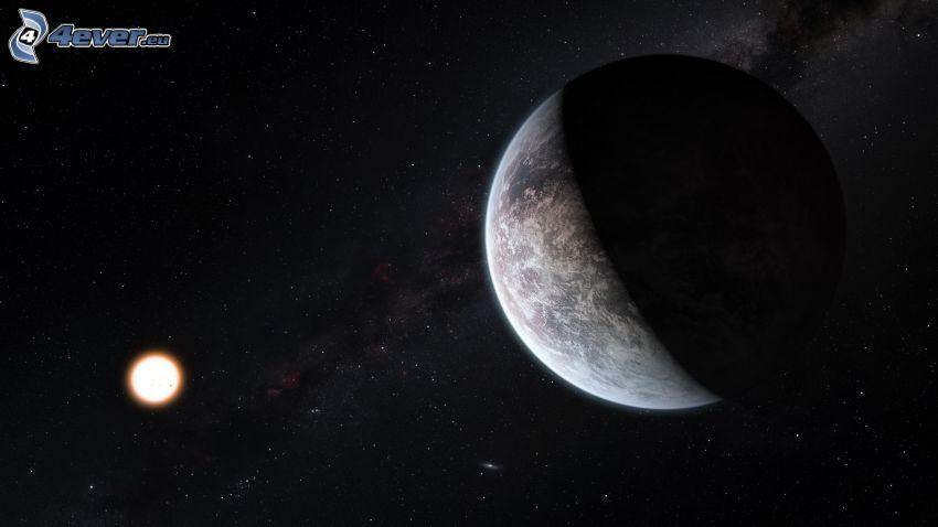 Planeta Ziemia, księżyc, gwiaździste niebo, noc