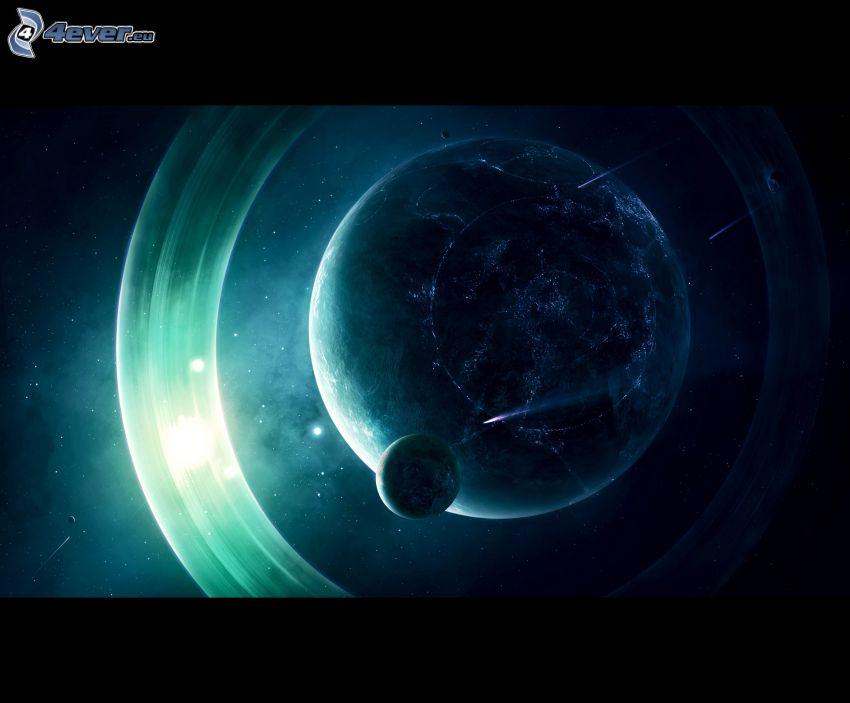 planety, kosmiczna łuna, gwiaździste niebo