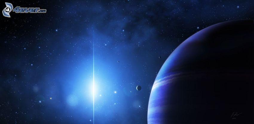 planety, niebieska gwiazda, gwiazdy