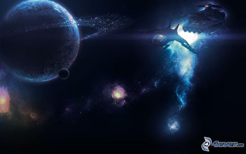 planety, statek kosmiczny, galaktyka
