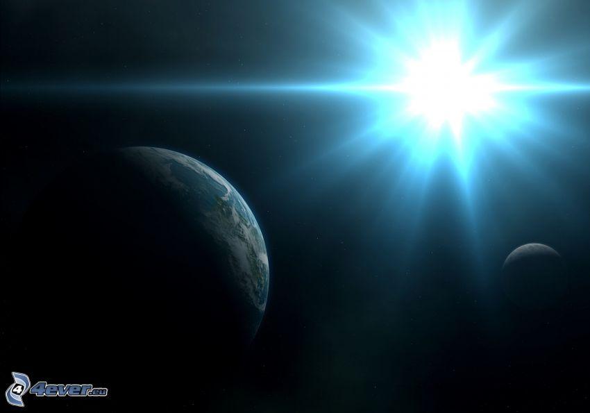 planety, Ziemia, słońce, niebieska gwiazda
