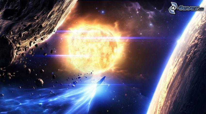 słońce, planety, asteroidy