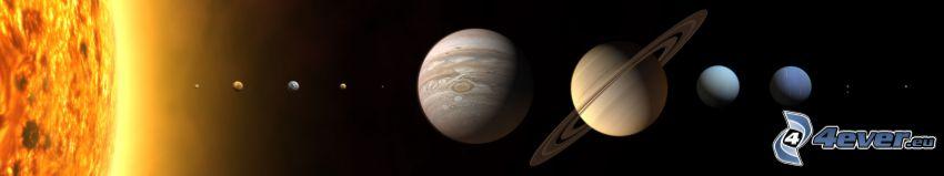 układ słoneczny, planety, słońce, Merkury, Wenus, Ziemia, Mars, Jupiter, Saturn, Uran, Neptun