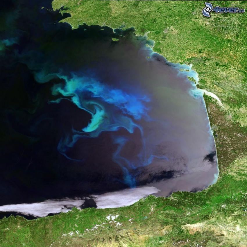 Zdjęcie satelitarne, Ocean Atlantycki, Francja, Hiszpania