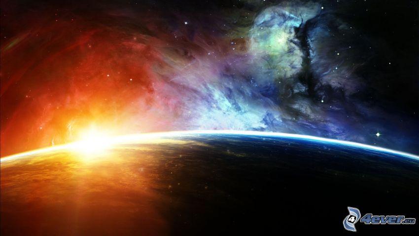 Ziemia, dzień i noc, wschód słońca, mgławica