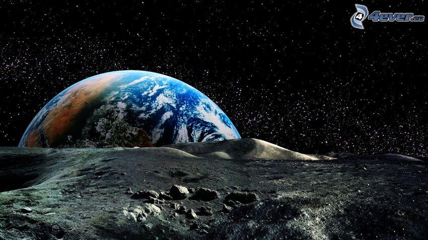 Ziemia, księżyc, gwiazdy