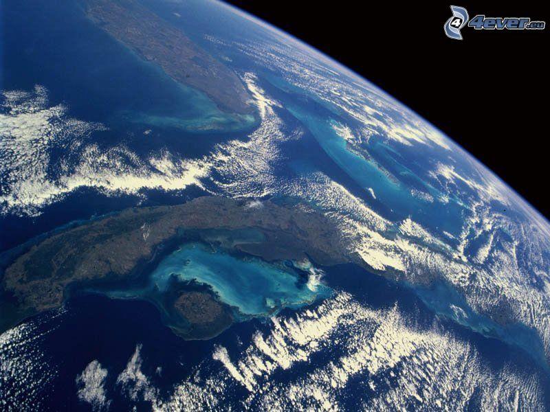Ziemia, niebo, powietrze, widok z kosmosu