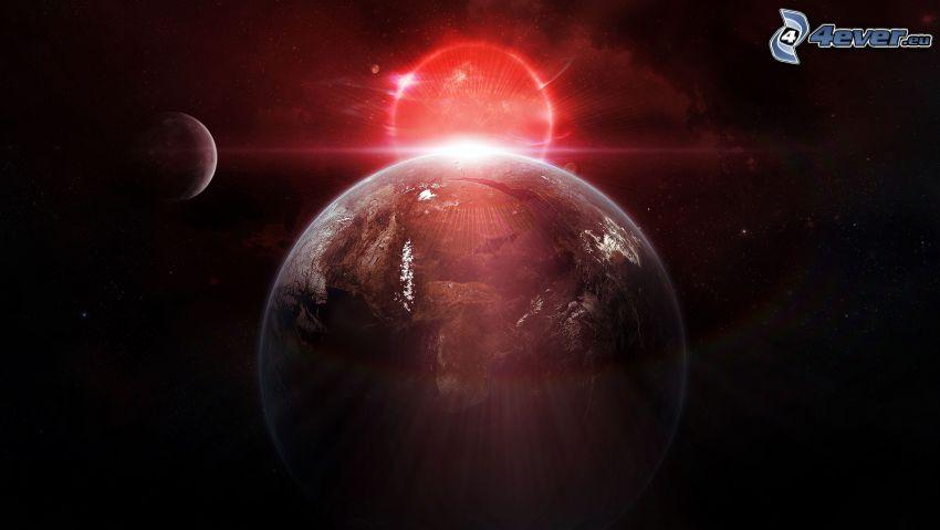 Ziemia, zaćmienie słońca, księżyc